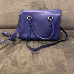 Madewell peri blue leather crossbody tote bag